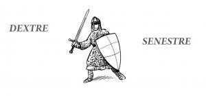 Dessin représentant un chevalier portant un bouclier