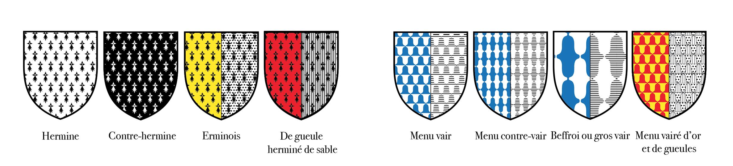 Illustration des fourrures en héraldique